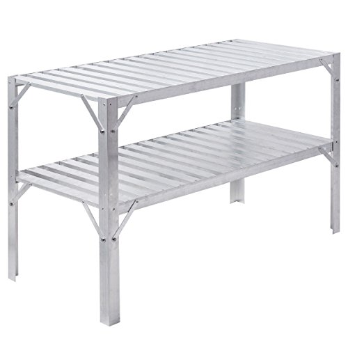 Garden Aluminum Workbench Greenhouse Prepare Work Potting Table Outdoor Lawn Patio With Ebook by oldzon