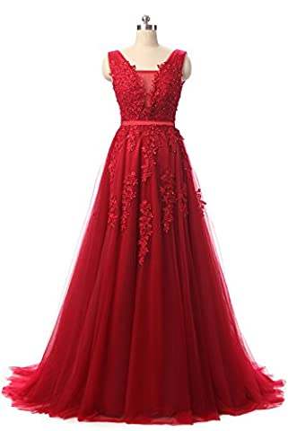 Huifany Sweep Double V-Neck Tulle Appliques Long Cocktail Evening Gowns - Las Vegas Wedding Invitation Wording