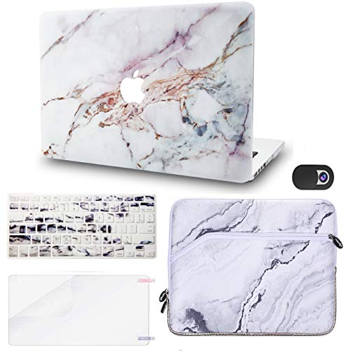 """KECC Laptop Case for MacBook Pro 13"""" (2020/2019/2018/2017/2016,Touch Bar) w/Keyboard Cover + Sleeve + Screen Protector + Webcam Cover (5 in 1 Bundle) A2159/A1989/A1706/A1708 (White Marble 4)"""