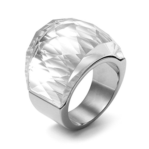 Womens Stainless Steel White Super Sized Crystal Ring Engagement Promise Wedding, Base,Size 7 (Swarovski Crystal Ring)
