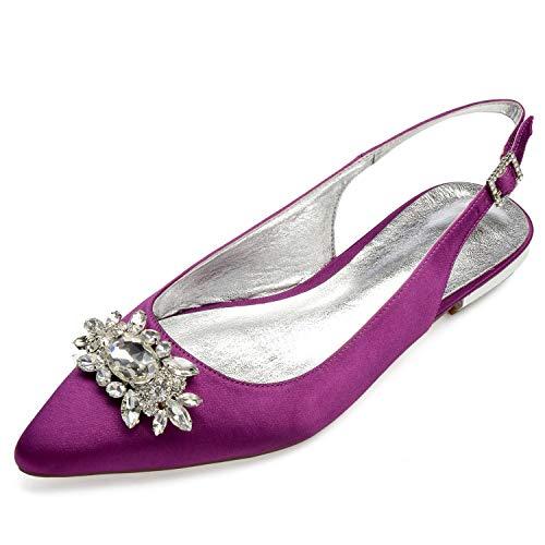 Satin De Mode Taille Boucle Eleoulck De 36 Soirée De Pompes Femmes Chaussures Mariage 43 Ivoire Pourpre 77xqnP8