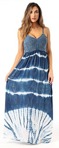 Riviera Sun 21801-MDN-S Summer Dresses Maxi Dress Sundresses for Women Denim Tie Dye Tie