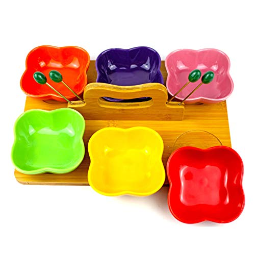6 Piece Condiment Server Set Ceramic Serving Bowls with Bamboo Wood Tray for Parties, Tabletop Server Trays with 6 Removable Dishes for Appetizers, Snacks, Dessert, Fruit by BEYLLOS
