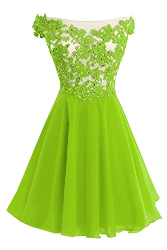 Bess Bridal Women's Lace Straps Beaded Short Prom Gown Homecoming Party Dress Lime Green