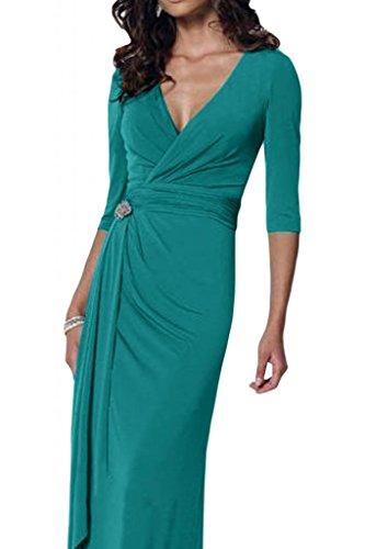 Con estilo V-cuello de la Toscana de novia de gasa madre de la novia vestidos de noche largo bola de vestidos de fiesta de agua Tuerkis