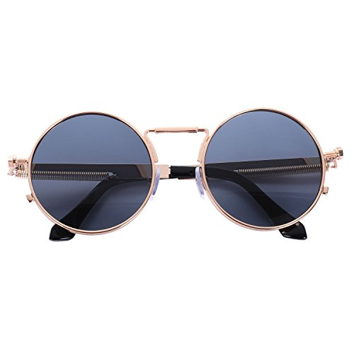 redondo negro steampunk de SODIAL Gafas de gris metal gris Gafas UV400 Marco dorado de retro sol vintage mujer sol de hombe Marco Wxw8fAqgT8