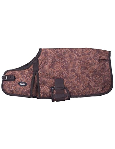 Tough-1 600D Dog Blanket in Prints Tooled Leather Brown Large