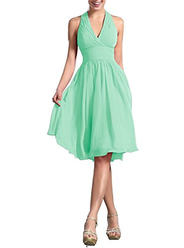 Awishwill Halter V Neck Homecoming Dress A Line Short Prom Bridesmaid Gowns For Women Mint Green,2