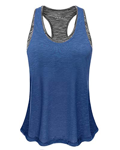 Women Tank Top with Built in Bra, Lightweight Yoga Camisole for Workout Gym Fitness(Dark Blue&Gray Bra, S)