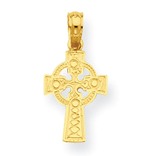Lex & Lu 14k Yellow Gold Celtic Cross w/Eternity Circle Pendant LAL74434-Prime