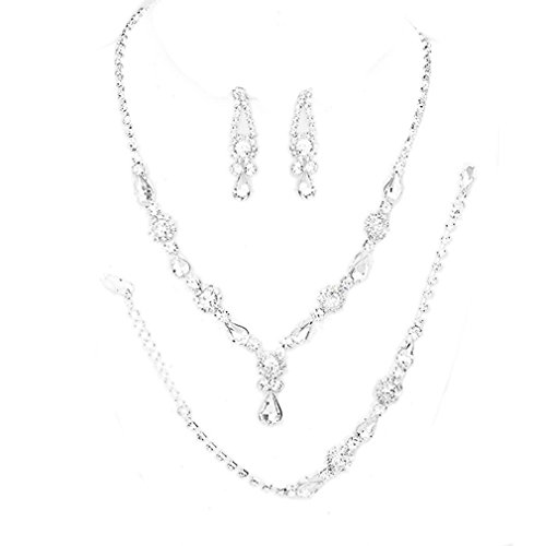 - Christina Collection Affordable Wedding Jewelry Clear Oval Teardrop Rhinestone Elegant Drop Set 3 Pcs Bracelet Earrings Necklace Set (Clear)