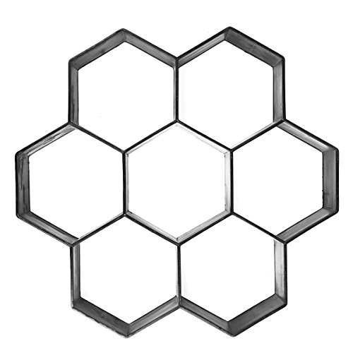 Reusable Hexagon Patio Path Pavement Walk Maker Mold Gardening Premium Concrete Cement Stone Paving Mould (12 by 12 inches)