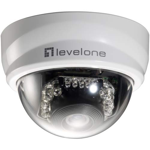 (LevelOne Cp Technologies FCS-3101, 2-Megapixel Indoor Fixed Dome IP Network Camera, Removable IR-Cut Filter for Day and Night Surveillance, Board Lens, Fixed-Focal, f=4.0mm, RJ45 Connection)