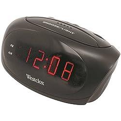 Westclox Alarm Clock Red 0.6 Red Led Display Black Case