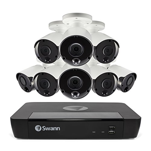 Swann 4K Ultra HD NVR Security System, 8 Channel 2TB NVR with 8 x 4K (8MP) Weatherproof Aluminum Surveillance Cameras IP66 rating, Smartphone Viewing, SWNVK-885808
