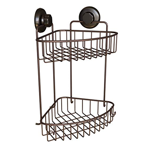 - HASKO accessories Corner Shower Caddy with Suction Cups | 304 Stainless Steel | Adhesive 3M Stick Discs | 2 Tier Basket for Bathroom and Kitchen Storage (Bronze)