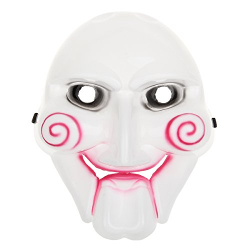 Scary Saw Billy PVC Mask for Halloween Masquerade Party – White + Black + Red