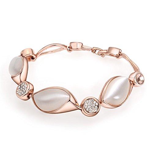 Viennois Faux Opal Stone Rose Gold Women Chain Bracelet Bangle - Rose Gold Chunky Bracelet