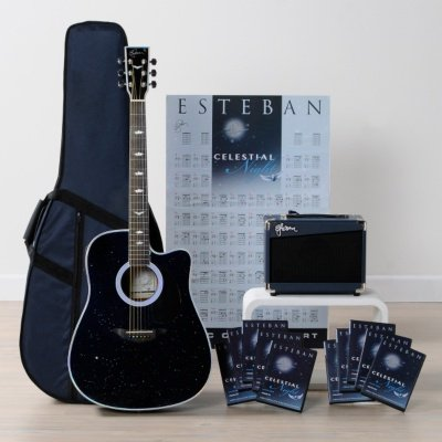 Esteban Celestial Night Acoustic Electric Guitar Package W Amp 10 DVDs And Accessories