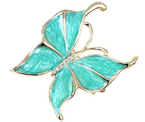 Large Silver White Filigree Butterfly Crystal Rhinestone Brooch Pin Jewelry Pin (Amount - B0653)