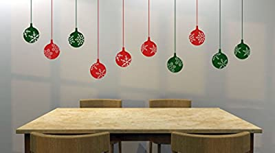 """Set of (10) 4"""" Snowflake Decorative Ornaments Removable Vinyl Decal - Perfect Holiday and Christmas stickers for Walls, Windows, Storefronts, and Offices - Red and Green"""