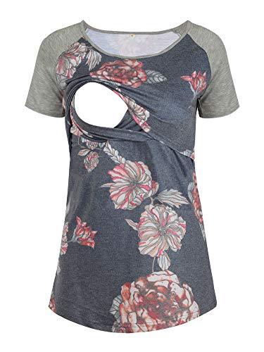 EzTree Women's Breastfeeding T-Shirt Patchwork Short Sleeve Raglan Sleeve Maternity and Nursing Tops