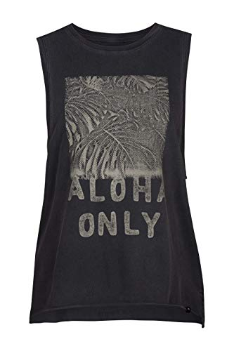 Hurley Women's Apparel Women's Washed Muscle Tank Top, Anthracite Aloha Graphic, - Aloha Tank