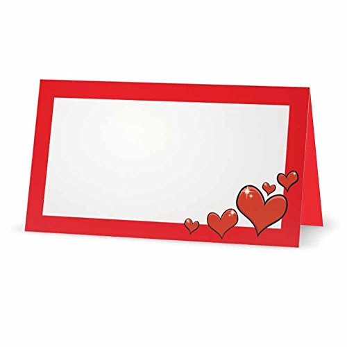 Red Hearts on Red Place Cards - TENT STYLE - 10 PACK - White Blank Front with Solid Color Border - Placement Table Name Seating Stationery Party Supplies - Occasion or Dinner Event (White Card Place Heart Holder)