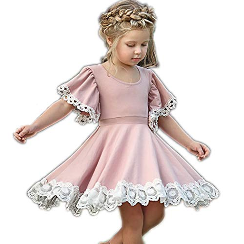 (Colorful Childhood Baby Girls Dress Toddler Girls Flare Lace Trim Princess Party Dress 3T Pink)