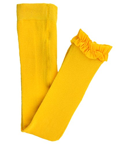 RuffleButts Little Girls Solid Knit Footless Ruffle Tights - Yellow - 4T-6 (Yellow Girls Tights)