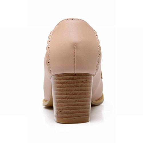 Latasa Damesmode Midden Stevige Hak Op Comfort Loafers Schoenen Roze