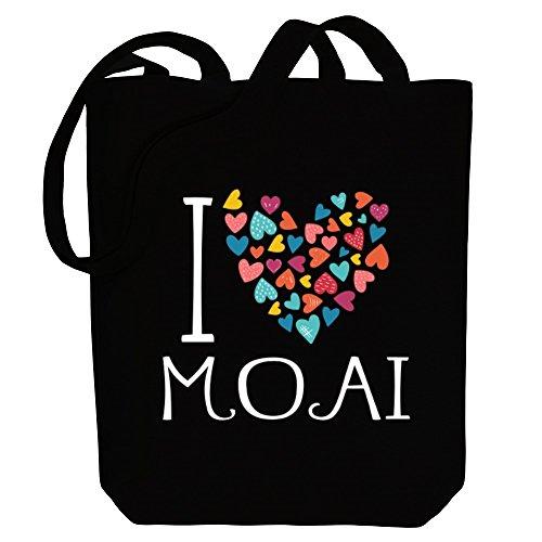 Idakoos I love Moai colorful hearts - Religionen - Bereich für Taschen