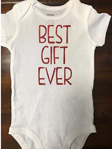 Best gift ever baby girl one piece glitter vinyl infant Christmas bodysuit