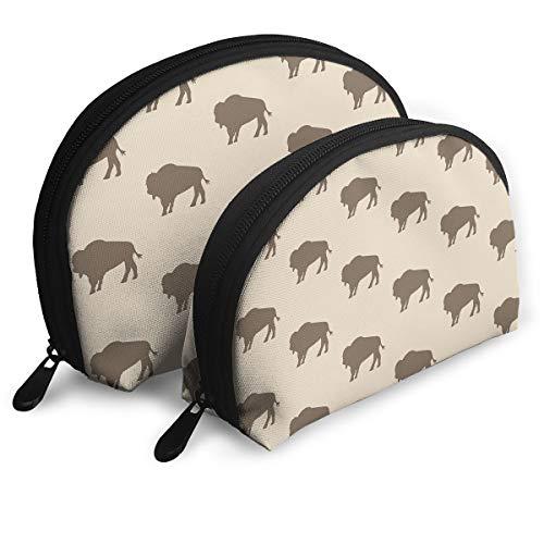 (Cosmetic Bag Neutral Buffalo Bison Herd Travel Makeup Pencil Pen Case Multifunction Storage Portable - 2 Piece Set)