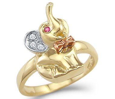 Size- 10 - 14k Yellow and White Gold Small Baby Elephant Ring - Elephant Yellow Ring