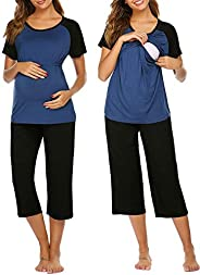 Ekouaer Women Maternity Pajamas Set Short Raglan Sleeve Baseball Nursing Nightgown for Breastfeeding Sleepwear