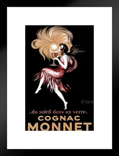 Poster Foundry Leonetto Cappiello Cognac Monnet Sunset in A Glass Vintage Advertising Art Print Matted Framed Wall Art 20x26 ()