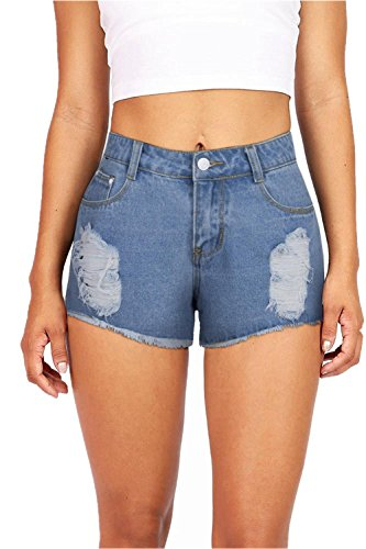 VEAWLL Denim Shorts for Juniors Destroyed Hole Washed Jean Shorts (S,Light Blue)