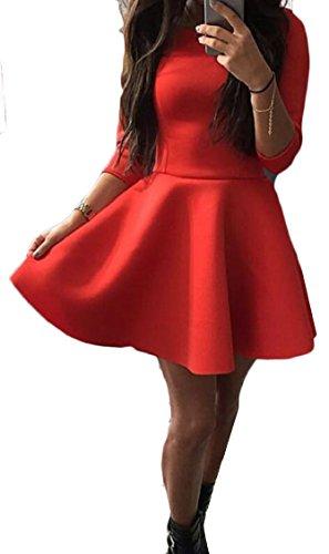 Sleeve A Casual Women's Dress 4 Line Red Jaycargogo Swing 3 Mini Flared pt7WYqw