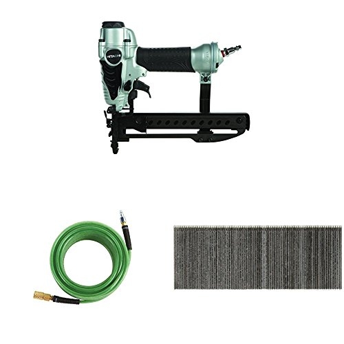 Hitachi N3804AB3 1/4 inch Narrow Crown Stapler, 50 Hose, and 1,000 Pack 1-1/2-in x 1/4-in Staples