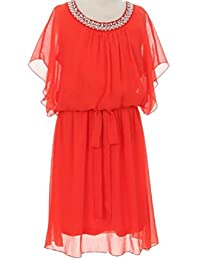 Little Girls Beaded Pearl Chiffon Easter Special Flowers Girls Dresses Coral 4 (CC90C03)