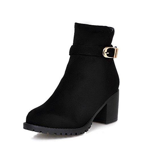 Allhqfashion Mujeres Zipper Kitten-heels Imitated Suede Solid Low-top Botas Negro