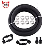 """EVIL ENERGY 6AN 3/8"""" ID Fuel Line Kit CPE Polyester Braided NBR Tube Rubber Hose 10ft and Push Lock Fittings 6pcs Universal for Fuel Injection Oil Catch Can"""