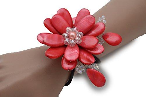TFJ Women Fashion Jewelry Hand Elastic Metal Cuff Bracelet Big Flower Charm Red Color (Studded Wristband Single)