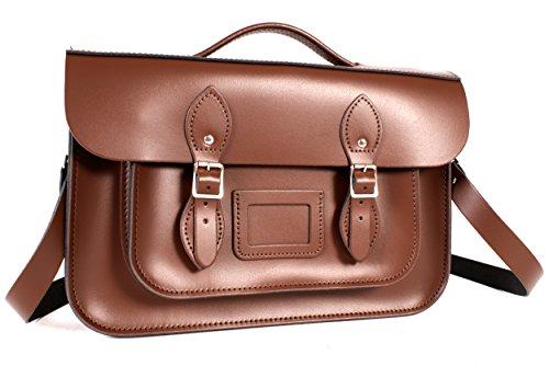 mujer Piel Bolso Marrón cartera Oxbridge para marrón estilo Satchel's de Xf5PCx