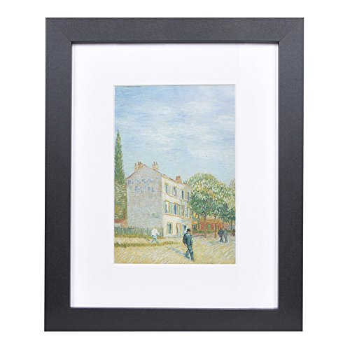 8x10 Wood Picture Frame - Flat Profile - 1pc - for Picture 5x7 with Mat or 8x10 without Mat - Frame Flat Black