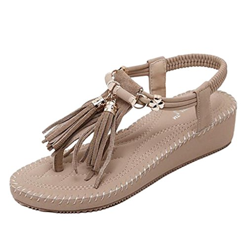 Thong apricot Binying Bohemian Fringed Sandals Women's Wedge vHZ8HzW