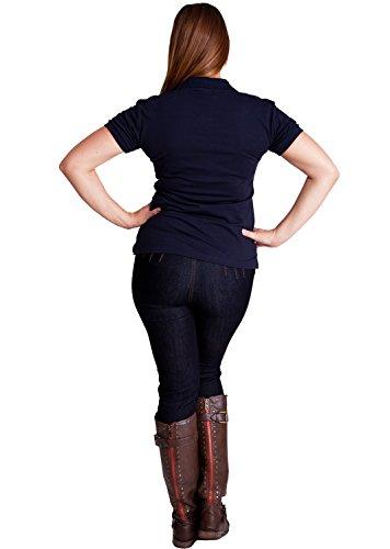 Navy Blue Woman Plus Size 3 Button Short Sleeve Polo Pique Shirt