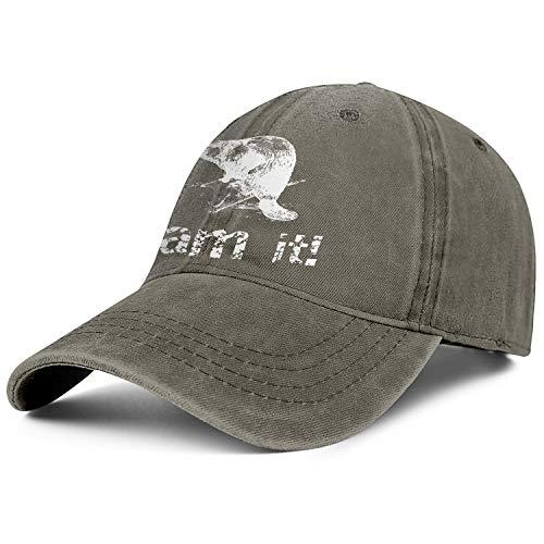 Dame It Oregon Beaver Denim Baseball Hats Unisex Man Retro Adjustable Mesh Driving Flat Cap -