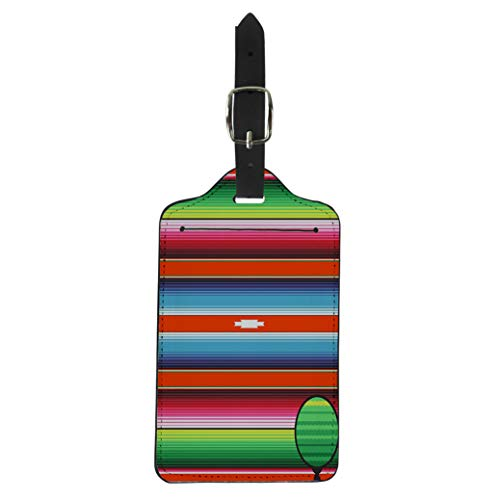 (Pinbeam Luggage Tag Mexican Stripes Pattern Red Blue Green Serape Threads Suitcase Baggage Label)